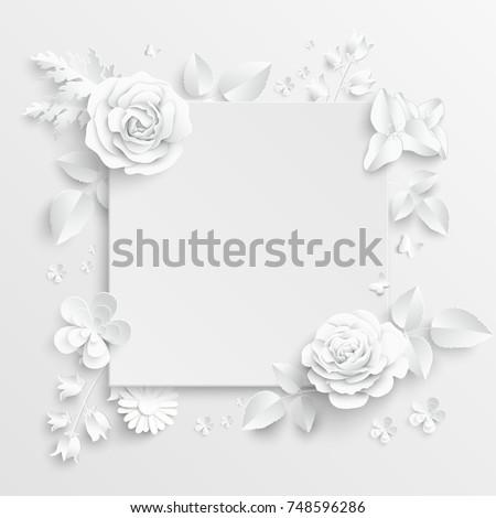 Paper Flower Frame White Rose White Stock Vector (Royalty Free ...
