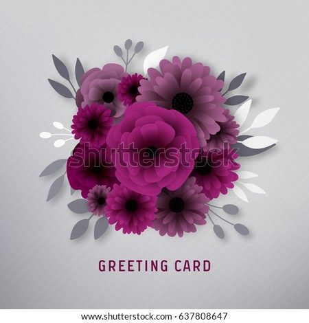Paper flower greeting card stock vector royalty free 637808647 paper flower greeting card mightylinksfo
