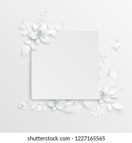 Paper flower. Lily. Square frame with abstract cut flowers. White lilies. Wedding decorations. Decorative bridal bouquet. Vector illustration. Greeting card template, blank floral wall decor.