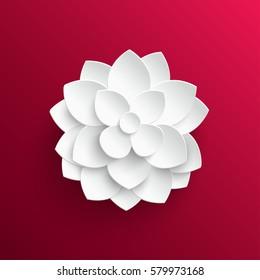 Paper flower. Lotus. Background. Vector illustration