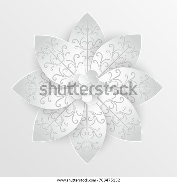 Paper flower. Lotus are cut from paper on a white background. Wedding decorations. Wedding lace. Template greeting card, blank floral wall decor.