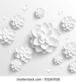 Paper flower. Lotus cut from paper. Wedding decorations. Wedding lace. Greeting card template, blank floral wall decor. White lotus. Background. Illustration