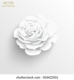 Paper flower. Rose cut out of paper. White rose. Background. Vector illustration