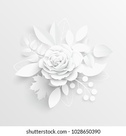 Paper Flower Paper Rose White Rose Stock Vector Royalty Free