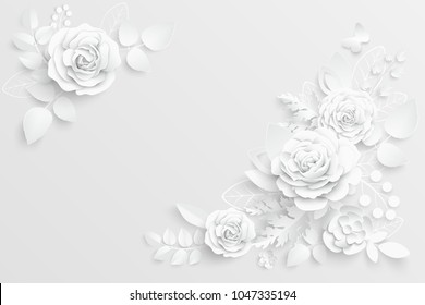 Paper flower images stock photos vectors shutterstock paper flower white roses cut from paper wedding decorations decorative bridal bouquet mightylinksfo