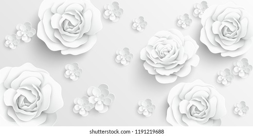 Paper flower. White roses cut from paper.  Wedding decorations. Decorative bridal bouquet, isolated floral design elements. Greeting card template. Vector illustration. Background.