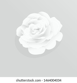 Paper flower. White roses cut from paper.  Wedding decorations. Decorative bridal bouquet, isolated floral design elements. Greeting card template. Vector illustration.