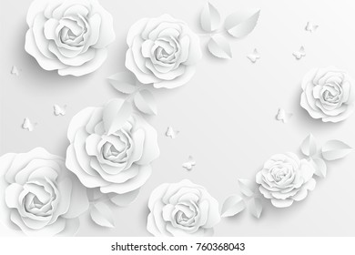 Paper flower. White roses cut from paper. Wedding decorations. Greeting card template, blank floral wall decor. Background.