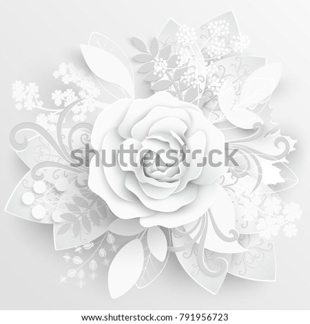 Paper Flower White Roses Cut Paper Image Vectorielle De Stock Libre