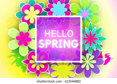 Paper Flowers and Decorative Letters for Greeting Card Hello Spring Design Stock Vector Illustration