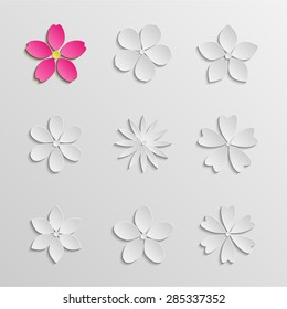 Paper flowers set. Gray scale. Pink abstract flower. Vector EPS 10
