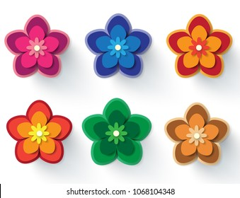 Paper cut flower images stock photos vectors shutterstock paper flowers vector set of simple colorful paper cut flowers isolated on a white mightylinksfo
