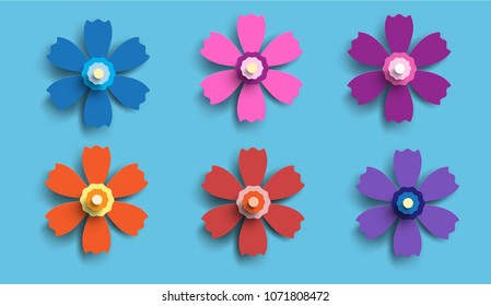 Paper flowers vector set simple colorful stock vector royalty free paper flowers vector set of simple colorful paper cut flowers isolated on a blue mightylinksfo