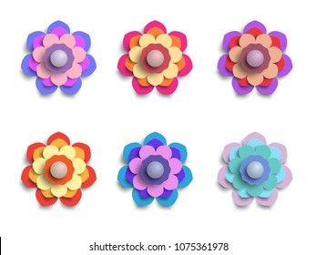 Paper flowers vector set simple colorful stock vector royalty free paper flowers vector set of simple colorful paper cut flowers isolated on a white mightylinksfo