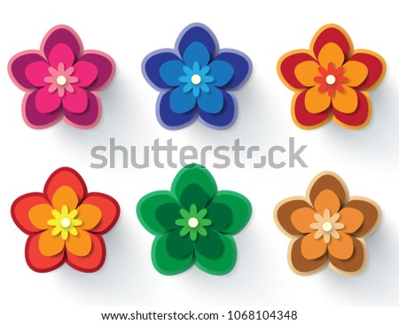 Paper Flowers Vector Set Simple Colorful Stock Vector Royalty Free