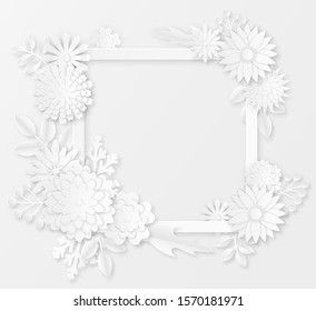 Paper flowers. White paper origami flowers creative composition bouquet, petals sakura ornament handmade, wedding floral template vector blossom shadow decor set