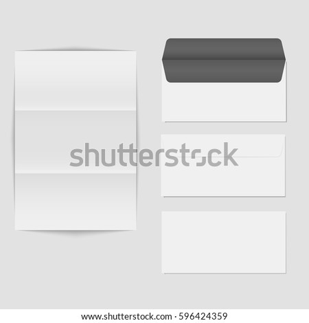 paper folded letter blank envelope template stock vector royalty
