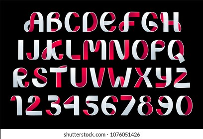 Paper folding Alphabet Vector. White and red Ribbon script font. Vector of modern stylized paper font. Alphabet letters. 3d alphabets set. Elements design.Strips folding abc