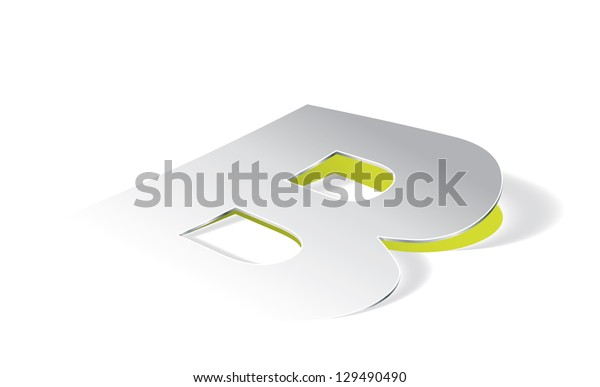 Paper folding with letter B in perspective view. Editable vector format.