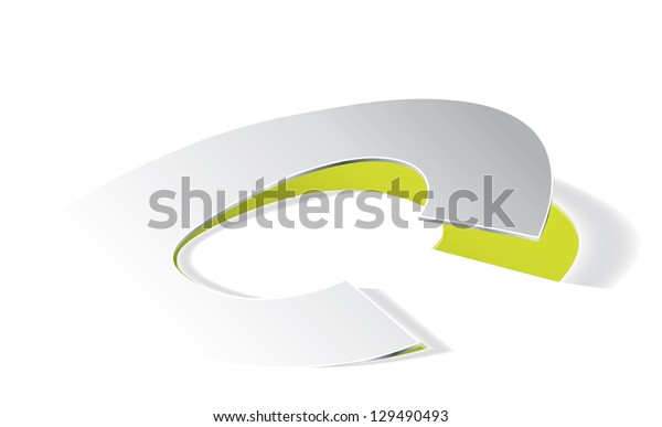 Paper folding with letter C in perspective view. Editable vector format.