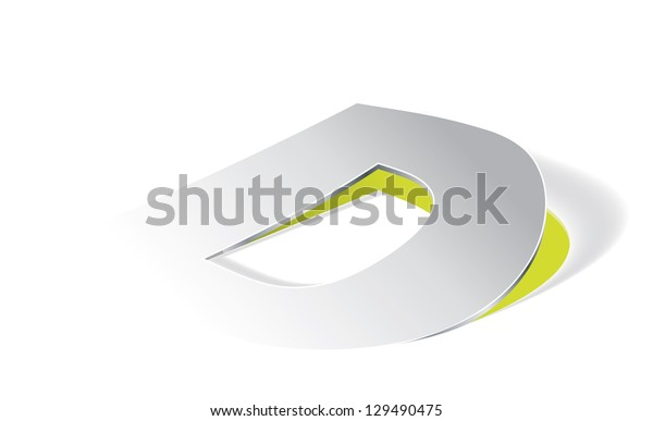 Paper folding with letter D in perspective view. Editable vector format.