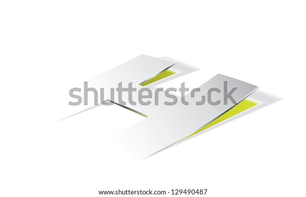 Paper folding with letter H in perspective view. Editable vector format.