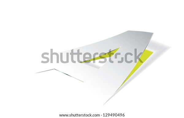 Paper folding with letter A in perspective view. Editable vector format.