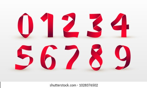 Paper folding numbers. Red ribbon script font. Modern stylized paper font. Alphabet letters. Elements design. Celebration Vector illustration. Isolated on white background