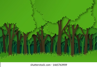 Paper forest. Green paper cut trees silhouettes, natural layered landscape. 3d origami ecosystem abstract vector style cutting craft concept