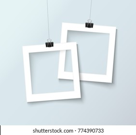 Paper frames with paper clips isolated on grey background. Design template for your photography and picture. Realistic vector illustration