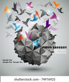Paper Freedom, Origami abstract vector illustration.