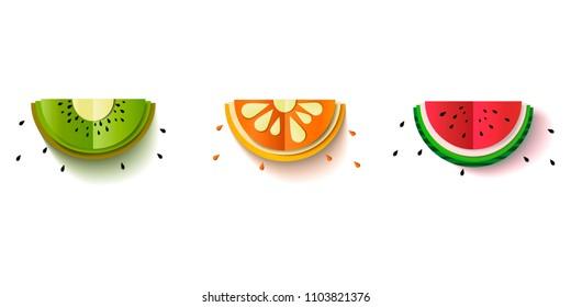 Paper Fruit Set cut out - mix design card illustration. Vector Illustration.l