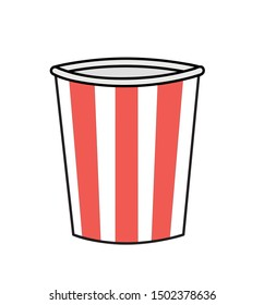 Paper glass of popcorn linear icon. Thin line illustration. Popcorn. Contour symbol. Vector isolated outline drawing.  Isolated vector illustration. Eps10.
