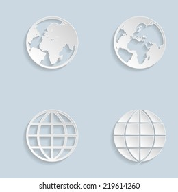 Paper Globe Earth Icons