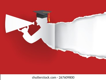 Paper graduate ripping paper. Red Graduation background with Paper graduate ripping paper with place for your text or image.Vector illustration.
