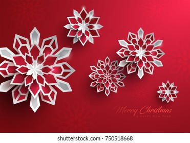 Paper graphic of Christmas snowflakes. Christmas decoration.