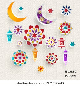 Paper graphics of Islamic symbols. Ramadan Kareem - Glorious Month of the Muslim Year. Set of elements for your design.