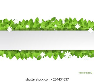 Paper green leaves with white flowers. vector eps10.