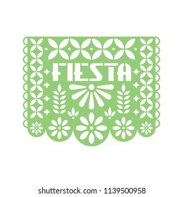 Paper greeting card with cut out flowers and geometric shapes. Papel Picado vector template design isolated on white background. Traditional Mexican paper garland.