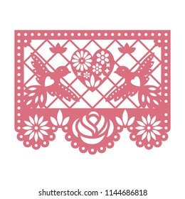 Paper greeting card with cut out flowers, Doves and heart. Papel Picado vector template design isolated on white background. Traditional Mexican paper garland.