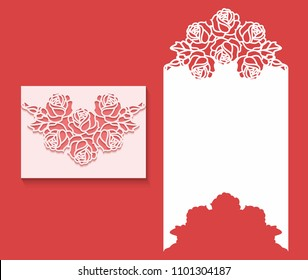 Paper greeting card with lace border pattern of roses. Cut out template for cutting. Suitable for laser cutting. Laser cut envelope template for invitation wedding card