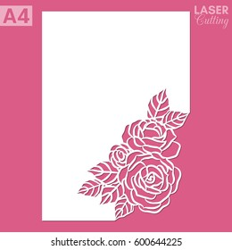 Paper greeting card with lace corner, pattern of roses. Cut out template for cutting. Suitable for laser cutting.