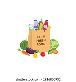 Paper grocery bag with farm fresh food icon or sign, flat vector illustration isolated on white background. Healthy ecological farmers production retail market symbol.