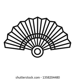 Paper hand fan icon. Outline paper hand fan vector icon for web design isolated on white background