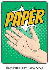 Paper hand gesture. Rock paper scissors hand game pop art style. Comic book imitation. Vector