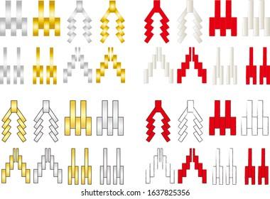 Paper hanging Japanese ribbon illustration set vector