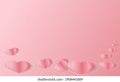 Paper heart on pink background, paper elements in shape of heart flying on pink background. Vector symbols of love for Happy Women's, Valentine's Day. Color of love.