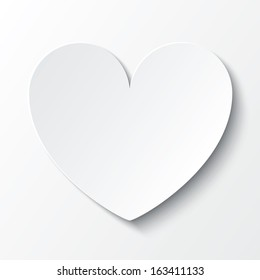 Paper heart Valentines day card on white background. Vector abstract background with heart. Paper heart cut from paper.