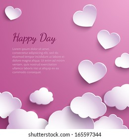 Paper hearts and clouds on a pink background. Valentine's Day. Vector illustration. Abstract design.