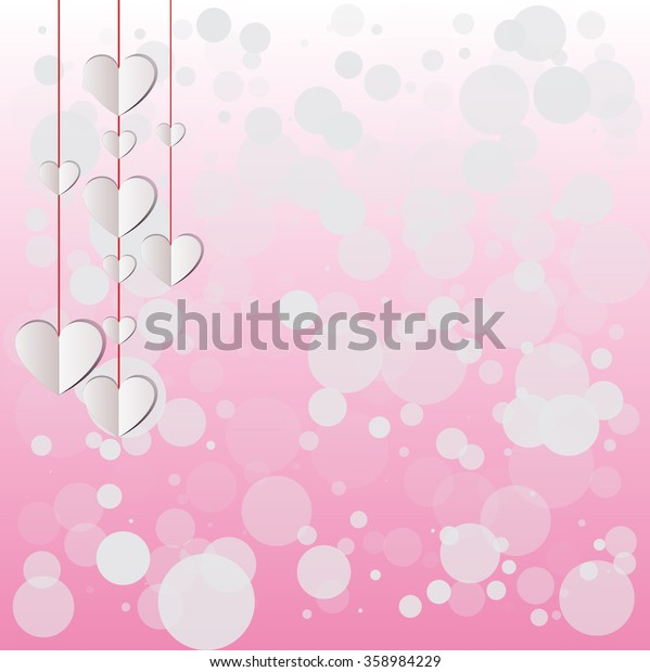 Paper hearts hanging on a pink shimmering background. vector love background